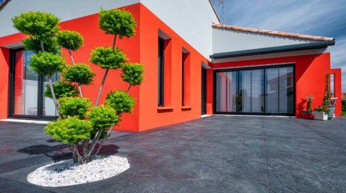 Terrasse béton empreinte